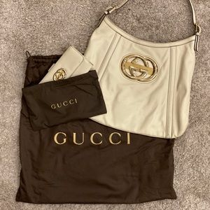GUCCI Vintage Ivory Leather Purse with Wallet